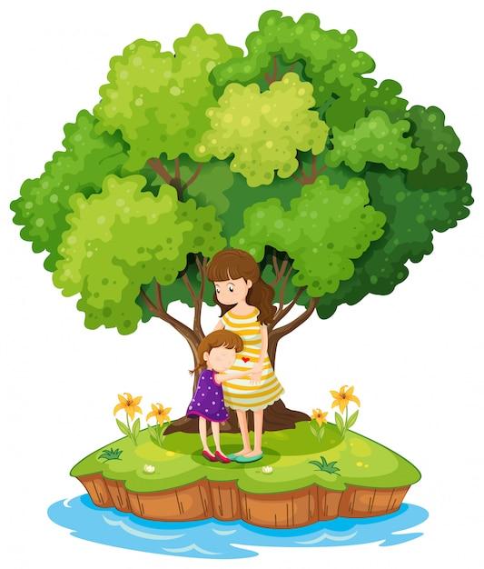 Un'isola con una madre e una figlia Vettore gratuito