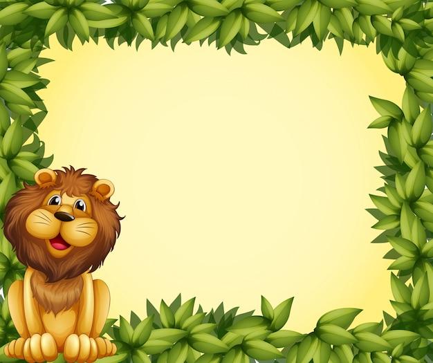 Un leone e un modello di cornice frondosa Vettore gratuito