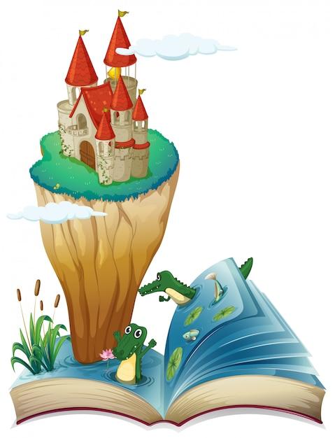 Un libro aperto con l'immagine di un castello in un'isola Vettore Premium