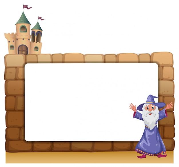 Un mago in piedi davanti a un bordo bianco vuoto Vettore gratuito