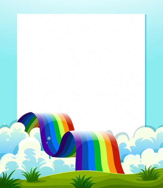 Un modello di carta vuoto con un arcobaleno nella parte inferiore Vettore gratuito