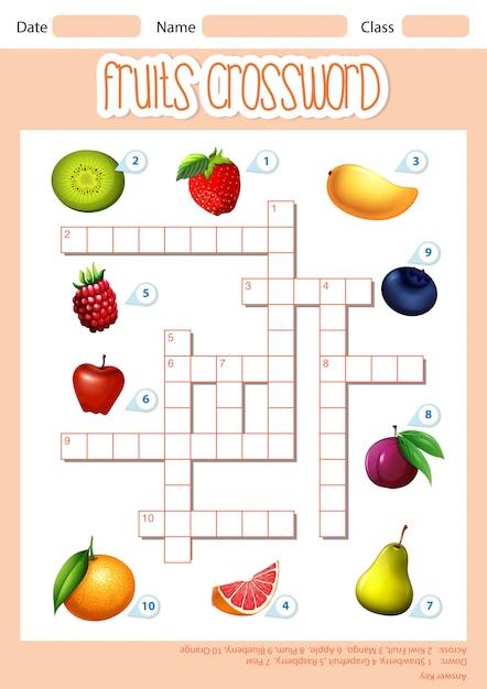 Un modello di parole incrociate di frutta Vettore gratuito