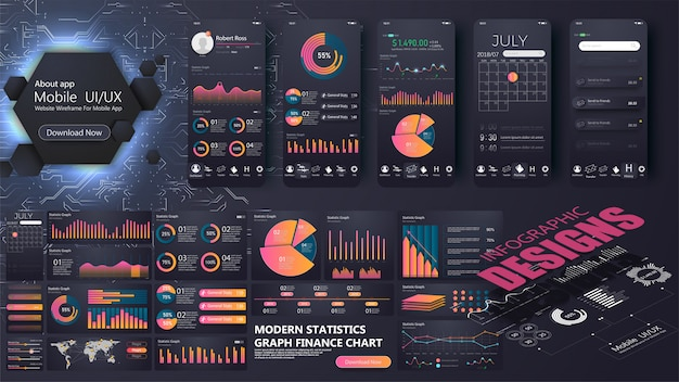 Un moderno modello di infografica per un sito web o un'applicazione mobile. grafica di informazioni Vettore Premium