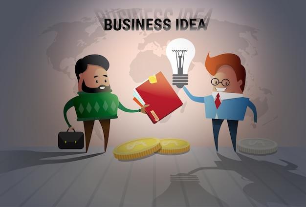 Un nuovo concetto di idea di due uomini di affari Vettore Premium