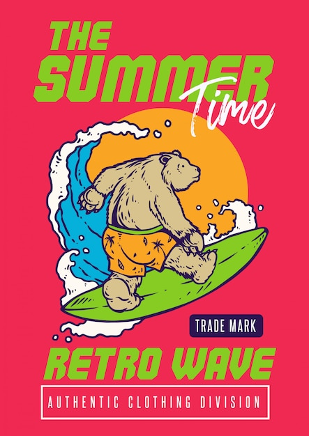 Un orso che naviga sulla spiaggia con il tramonto e l'illustrazione vibrante di stile degli anni 80 Vettore Premium