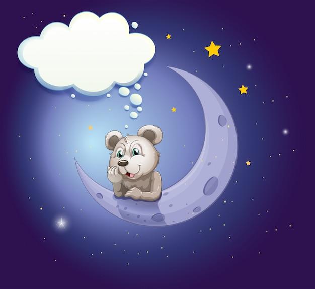 Un orso grigio sporgendosi sulla luna con un richiamo vuoto Vettore Premium