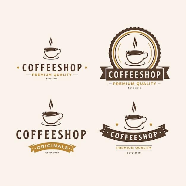 Un pacchetto di logo della tazza di caffè Vettore Premium