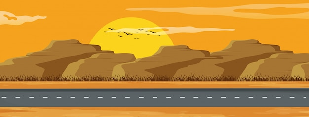 Un paesaggio di strada arizona Vettore Premium