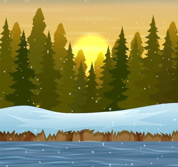 Un paesaggio forestale invernale al tramonto Vettore Premium