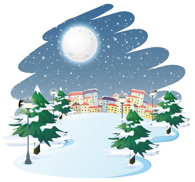 Un paesaggio invernale all'aperto Vettore gratuito