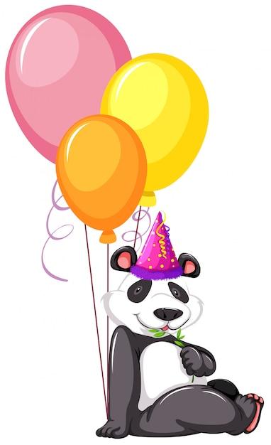 Un panda con palloncini Vettore gratuito