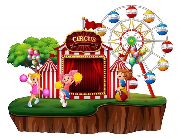 Un parco divertimenti sull'illustrazione dell'isola Vettore Premium