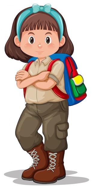 Un personaggio di ragazza scout bruna Vettore gratuito