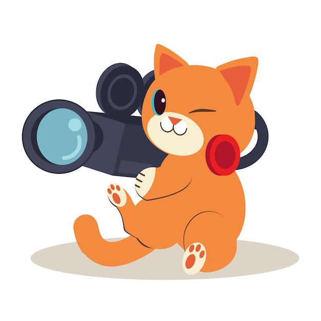 Un personaggio di simpatico gatto seduto a terra. gatto sta facendo il film e così felice. simpatico gatto che lavora come cameraman Vettore Premium