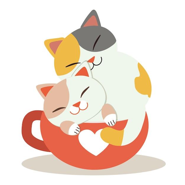 Un personaggio di simpatico gatto seduto nella tazza rossa Vettore Premium