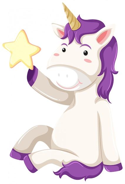 Un personaggio di unicorno su sfondo bianco Vettore gratuito