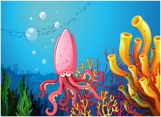 Un polipo sotto l'oceano Vettore gratuito