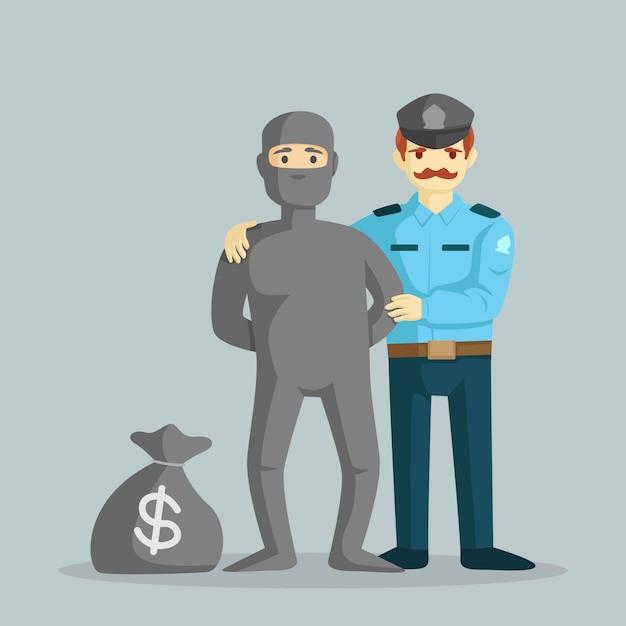 Un poliziotto cattura un ladro con un sacco di soldi illustrazione vettoriale Vettore Premium