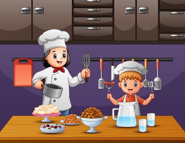 Un ragazzo che aiuta sua madre a cucinare in cucina Vettore Premium