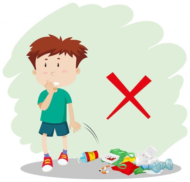 Un ragazzo che butta la spazzatura in strada Vettore gratuito
