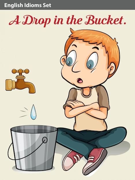 Un ragazzo che guarda la goccia d'acqua Vettore gratuito
