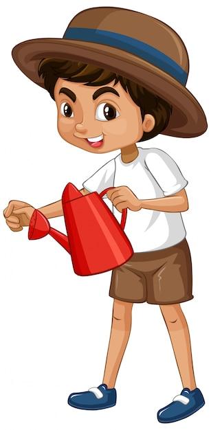 Un ragazzo felice con annaffiatoio rosso Vettore gratuito