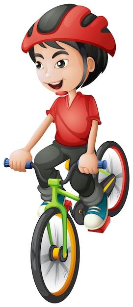 Un ragazzo in sella alla sua bici Vettore gratuito