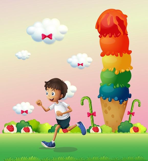 Un ragazzo in una terra piena di dolci Vettore gratuito