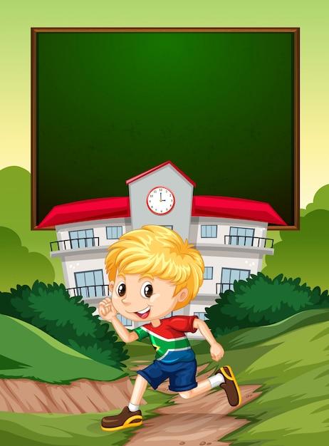 Un ragazzo sudafricano sulla bandiera della scuola Vettore gratuito