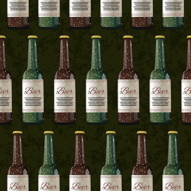 Un sacco di bottiglie di birra chiara e scura sul modello verde scuro, senza soluzione di continuità Vettore Premium