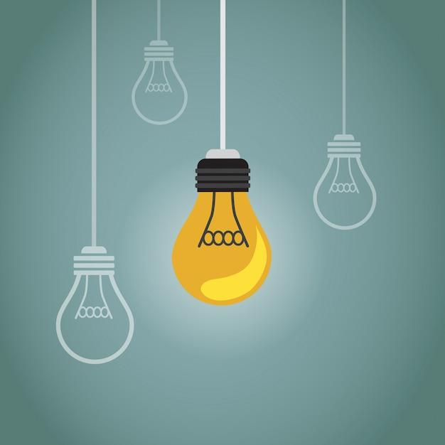 Un sacco di lampadine e una sola Vettore Premium