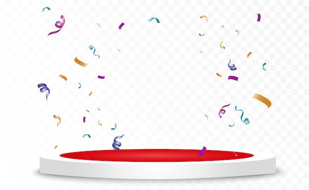 Un sacco di piccoli coriandoli colorati e nastri su sfondo trasparente. evento festivo e festa. sfondo multicolore. coriandoli luminosi colorati isolati sul podio. Vettore Premium