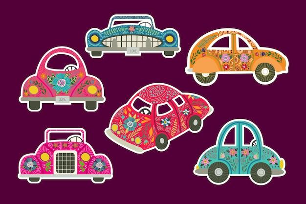 Un set di adesivi per auto Vettore Premium