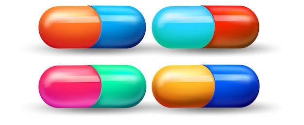 Un set di capsule colorate Vettore gratuito