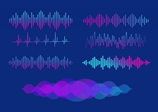 Un set di equalizzatori. equalizzatore per lettore musicale. illustrazione. Vettore Premium