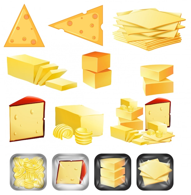 Un set di formaggi Vettore gratuito