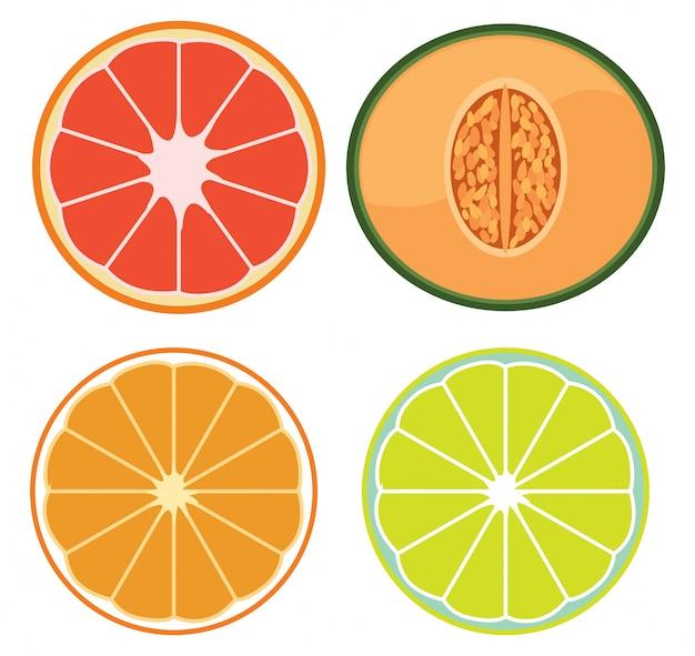 Un set di frutta a fette Vettore gratuito