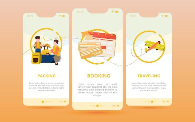 Un set di schermate viene visualizzato con un'icona di preparazione prima del viaggio Vettore Premium