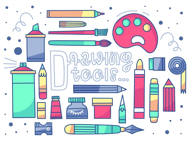 Un set vettoriale di strumenti di disegno. 20 articoli + lettere. stile piatto Vettore Premium