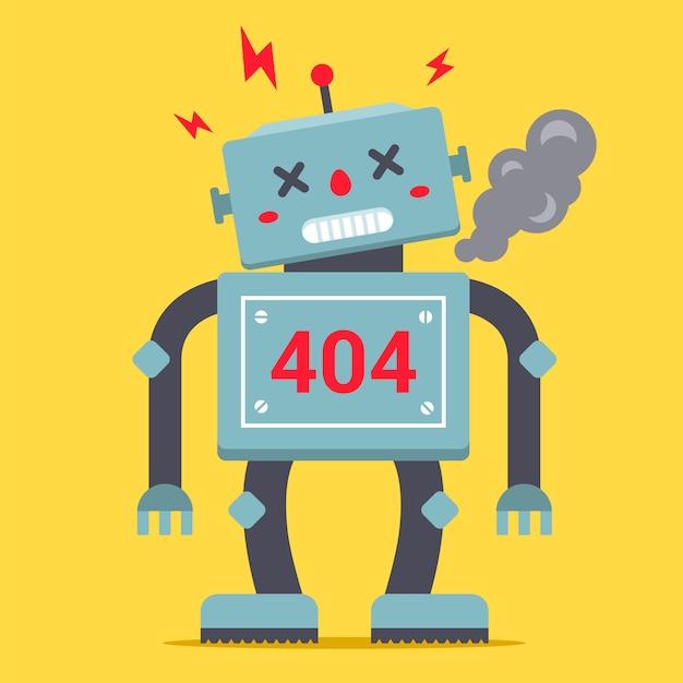 Un simpatico robot è alto. è rotto e fuma. errore 404 per sito internet. di un personaggio. Vettore Premium