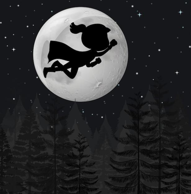 Un super eroe che vola di notte Vettore gratuito