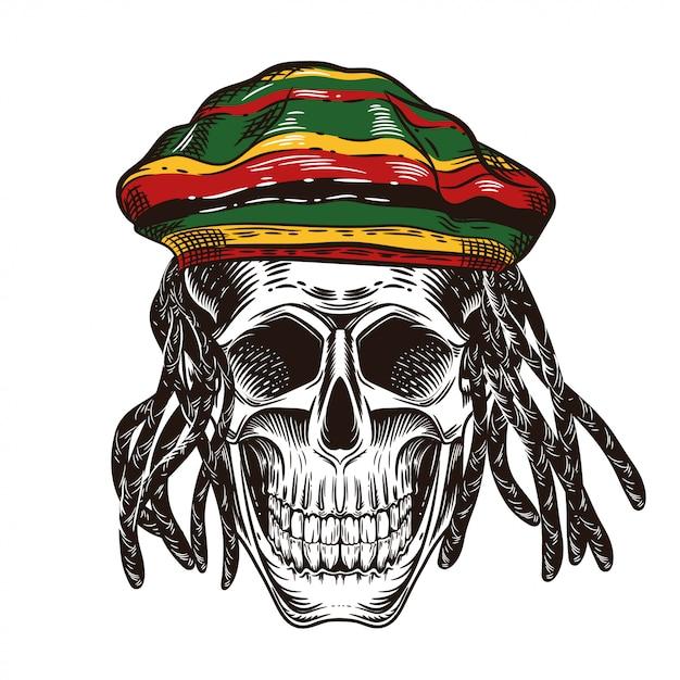 Un teschio con i dreadlocks. cranio nel cappello di rastaman. Vettore Premium