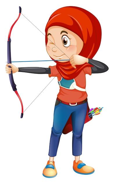 Un tiro con l'arco musulmano su sfondo whiye Vettore gratuito