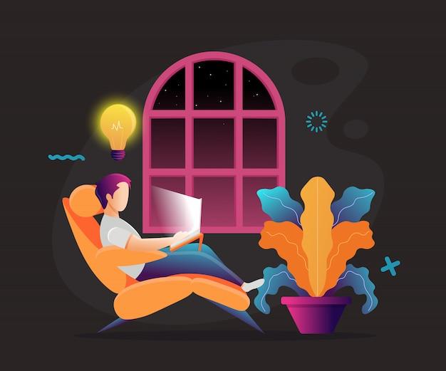 Un uomo al lavoro. lavorare su un laptop. colorato. posto di lavoro. modello di pagina web. sfondo nero. illustrazione Vettore Premium