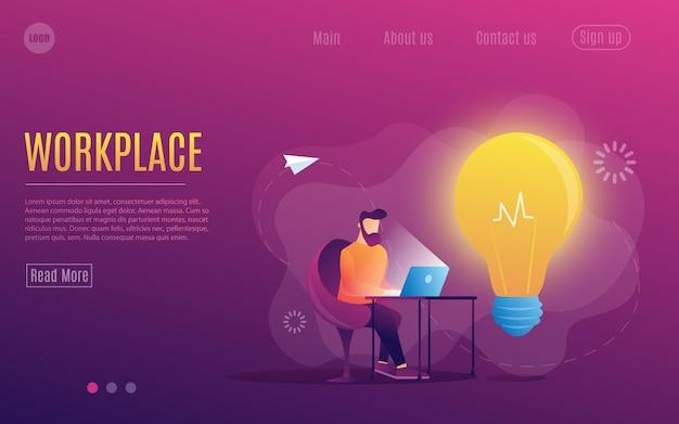 Un uomo al lavoro. lavorare su un laptop. stile piatto colorato posto di lavoro. modello di pagina web. Vettore Premium