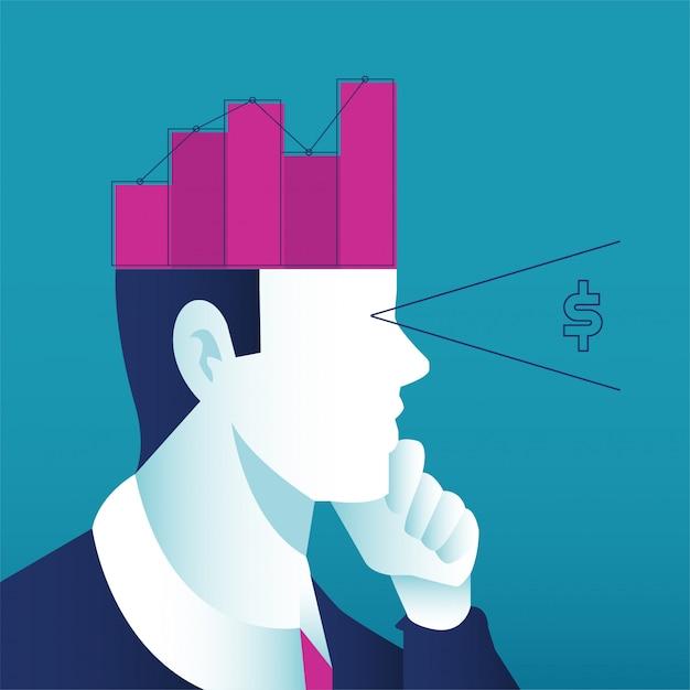 Un uomo che pensa al concetto di business. testa aperta con grafico crescente per aumentare le vendite e gli investimenti di profitto. Vettore Premium