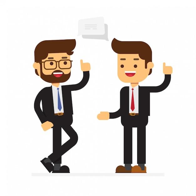 Un uomo di due affari che discute strategia aziendale Vettore Premium