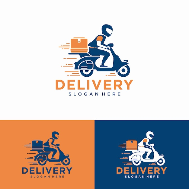 Un uomo sta guidando uno scooter. logo di consegna Vettore Premium