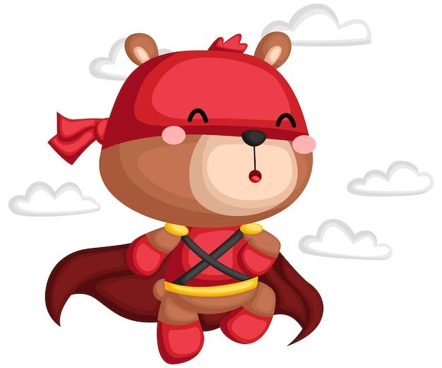 Un vettore di un orso in un costume da supereroe Vettore Premium