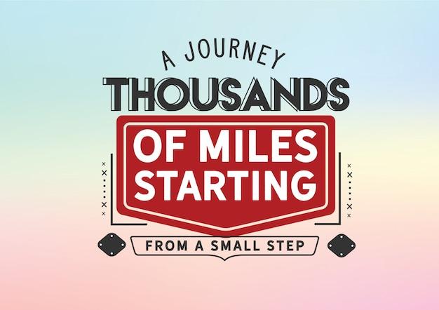 Un viaggio di migliaia di chilometri partendo da un piccolo passo Vettore Premium